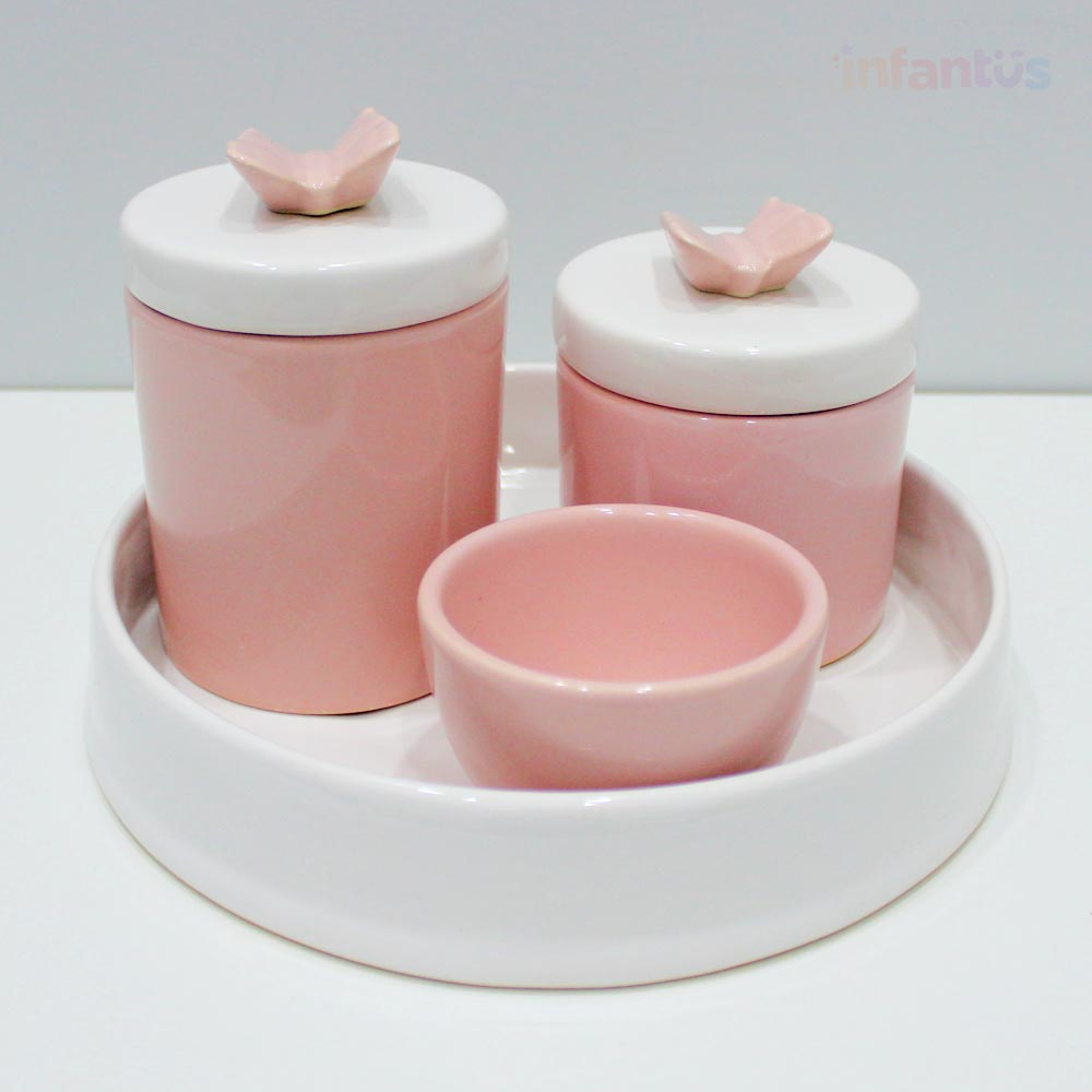 Kit Higiene Redondo Borboleta Rosa Claro com Branco 4 Peças