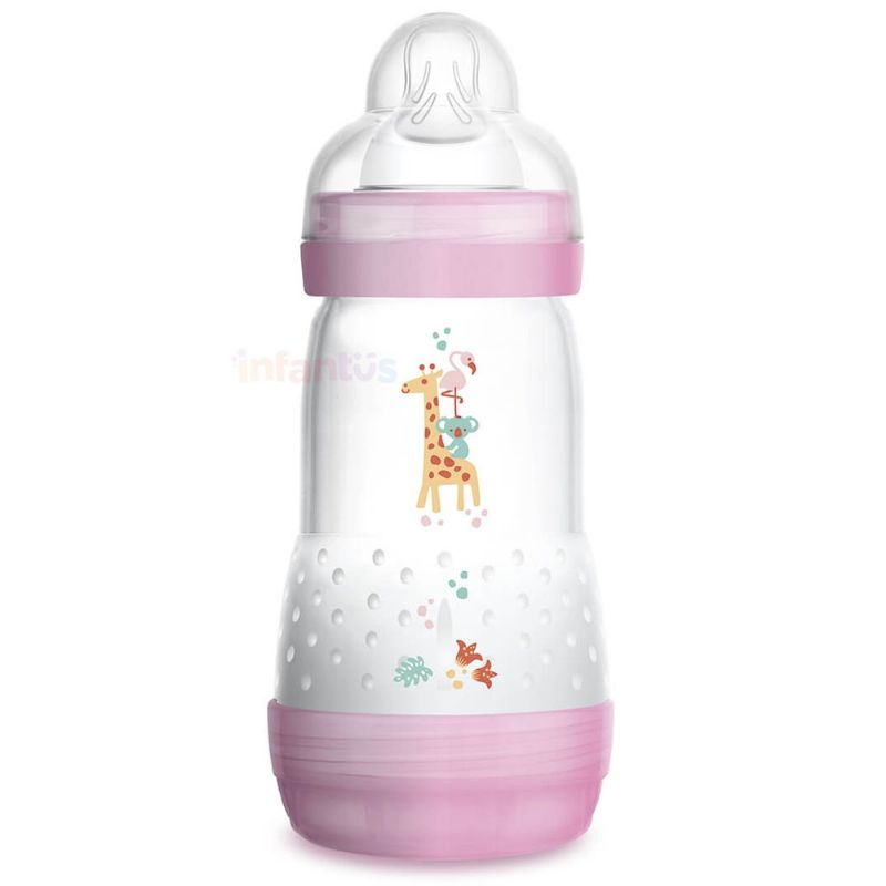 Mamadeira Easy Start Anticólica 2+ meses 260ml Rosa - MAM