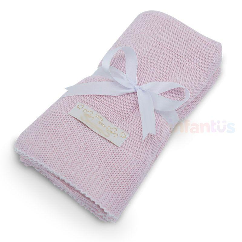 Manta para Bebê Rosa com acabamento Branco - SB