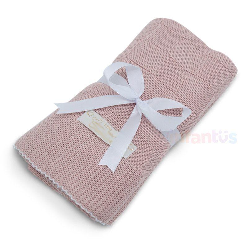 Manta para Bebê Rosê com acabamento Branco - SB