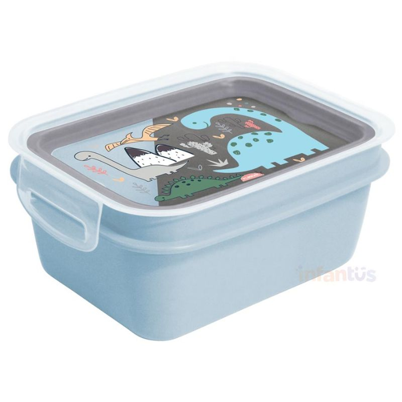 Marmita Hermética Trava e Compartimentos 850 ml Dino Azul