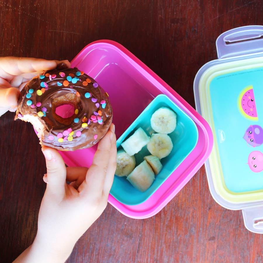Marmita Hermética Trava e Compartimentos 850 ml Frutinhas Rosa