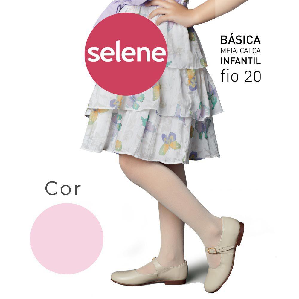 Meia Calça Básica Rosa - Selene