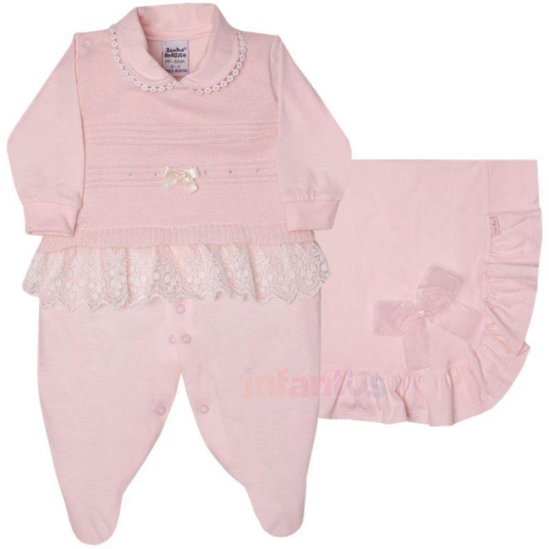 Saída de Maternidade Renda Rosa Claro 2 Peças - Sonho Mágico