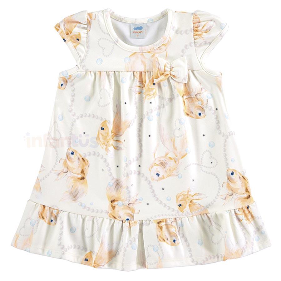 Vestido Peixes Bebê Bege - Marlan