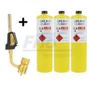 Kit Bico de Maçarico com Acendedor Automático + 3 Latas Refis Para Solda