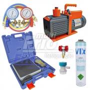 Kit  Bomba de vácuo 6 cfm + Manifold + engate rápido baixa e alta + Balança Digital + refrigerante R134a