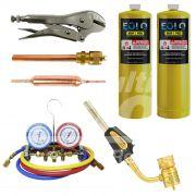 Kit Refrigeração: (Manifold + 2 Refis Map + Maçarico + Schrader + Filtro + Alicate Lacrador)