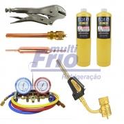 Kit Refrigeração - Manifold + 2 Refis Map + Maçarico + Schrader + Filtro + Alicate Lacrador
