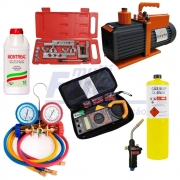 Kit Refrigeração: Manifold + Maçarico + Bomba de vácuo + Flangeador