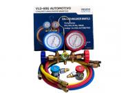 Manifold Automotivo Vulkan + Engate Rápido Alta e Baixa com Mangueira de 1,5m Gas R12/R22/R134a/R404a