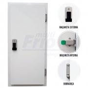 Porta Giratória Com Fechadura Com Chave Abertura Para a Direita Para Câmara Fria de Congelados Com 3 Batentes 1,80 X 0,80 M