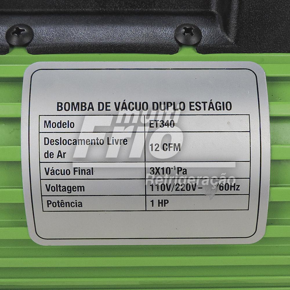 Bomba de Vácuo 12 CFM EcoTools Duplo Estágio ET340 + Óleo Mineral Iso Vg 46 1 Litro
