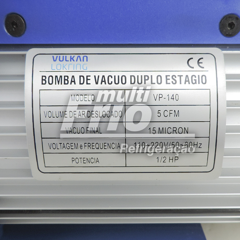 Bomba de Vácuo 5 CFM Duplo Estágio Vulkan