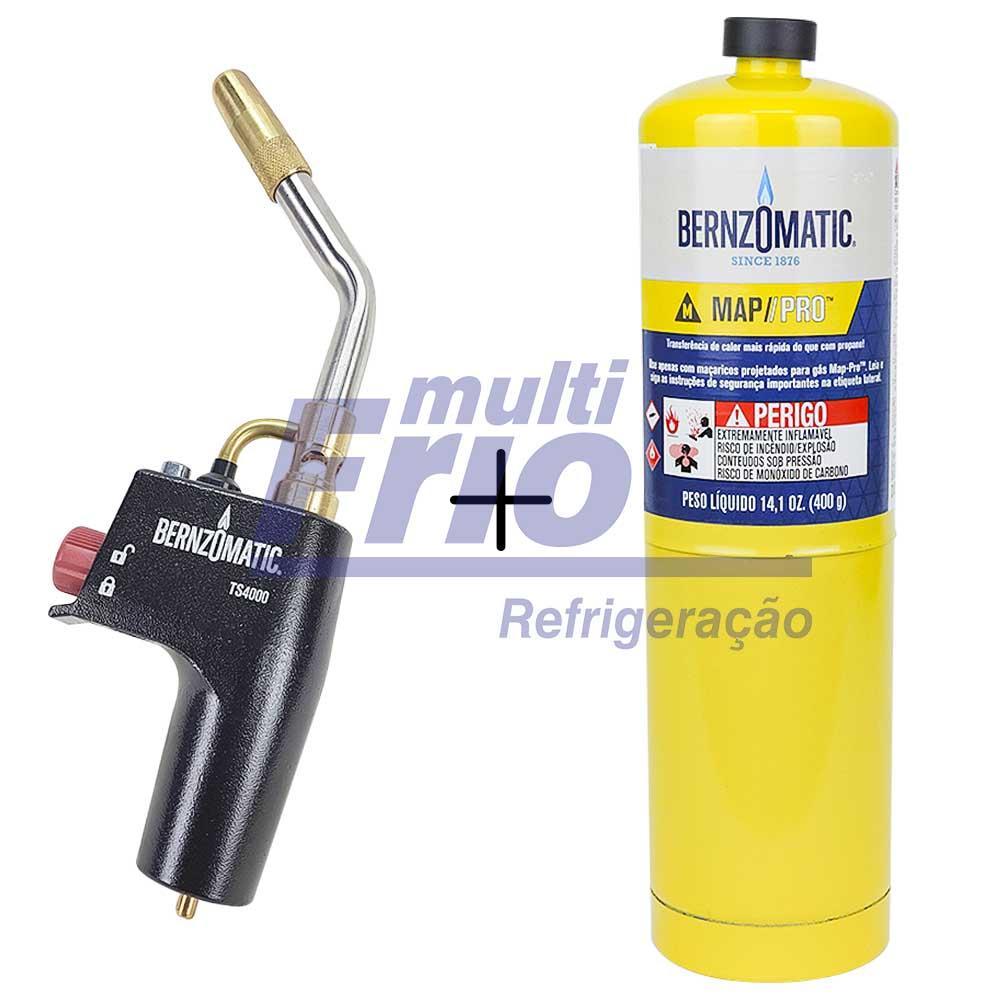 Kit Carga de Gás Mapp Bernzomatic + Bico de Maçarico Acendimento Automático Bernzomatic TS4000T