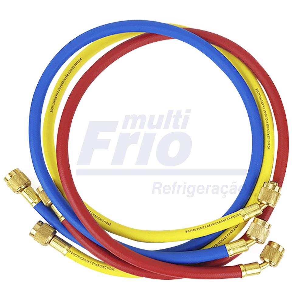 Conjunto de Mangueiras Mastercool 90cm 1/4SAE para Gases R22 / R134a / R404a