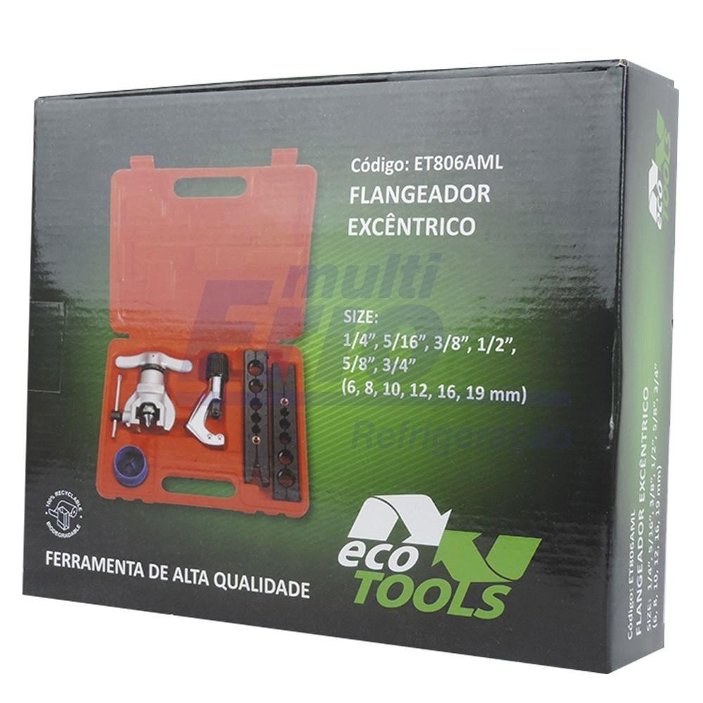 Flangeador Excêntrico s/ Catraca Kit 3/16 A 3/4 Cortador + Escariador + Maleta