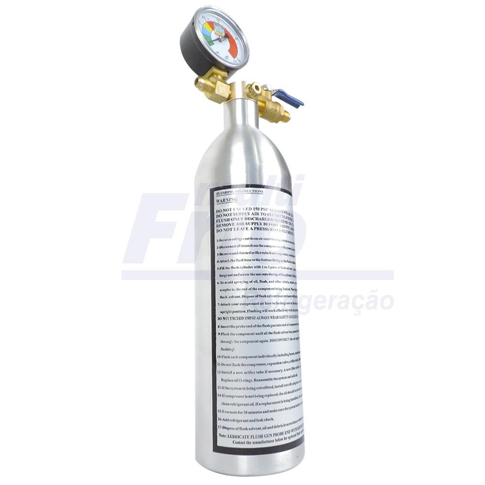 Garrafa Injetora Kit Flushing Limpeza Refrigeração 141b Com Manômetro