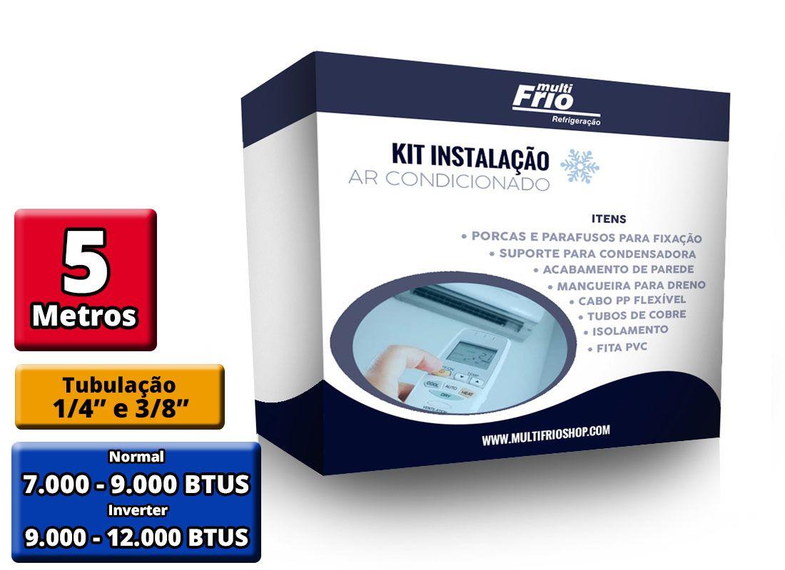 Kit Instalação de ar Condicionado Split 7K e 9K BTUS Condensadora Redonda/Barril - 5 metros (Suporte 450MM)