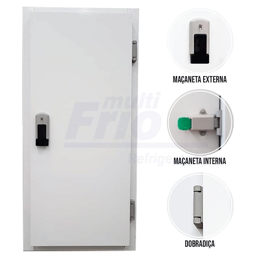 Porta Giratória Com Fechadura Com Chave Abertura Para a Direita Para Câmara Fria de Congelados Com 3 Batentes 2,00 X 1,00 M