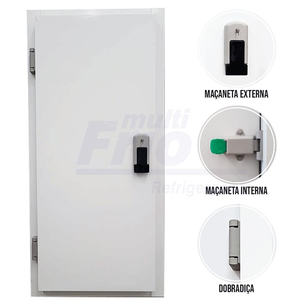 Porta Giratória Com Fechadura Com Chave e Abertura Para o Lado Esquerdo Com 4 Batentes Para Câmara Fria de Congelados 2,00 X 1,00 Metros
