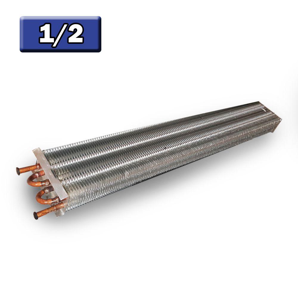 Evaporador Aletado de Cobre Horizontal 1/2 6 Tubos 1 Metro