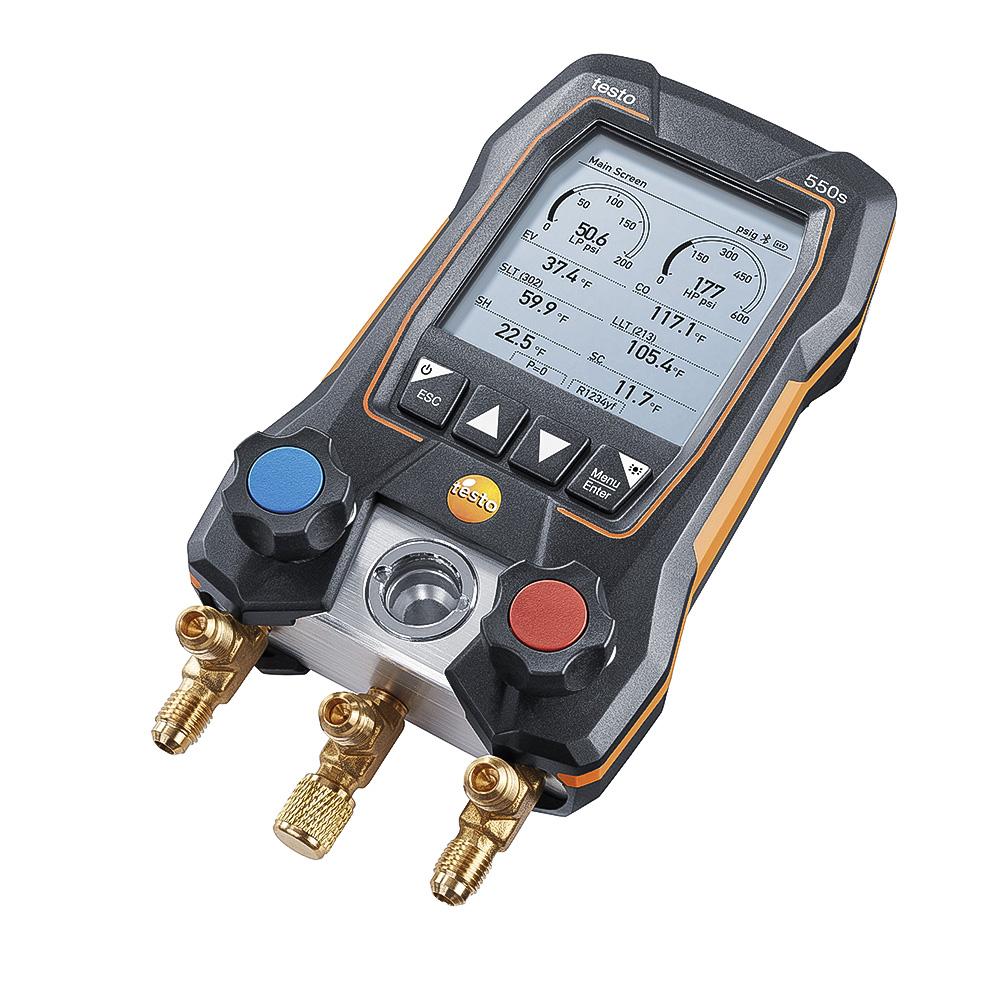 Testo 550s Manifold Digital 2 Vias Bluetooth Com 3 Mangueiras  2 sondas de Temperatura Testo 115i Sem Fio Kit Smart  (0564 5503)