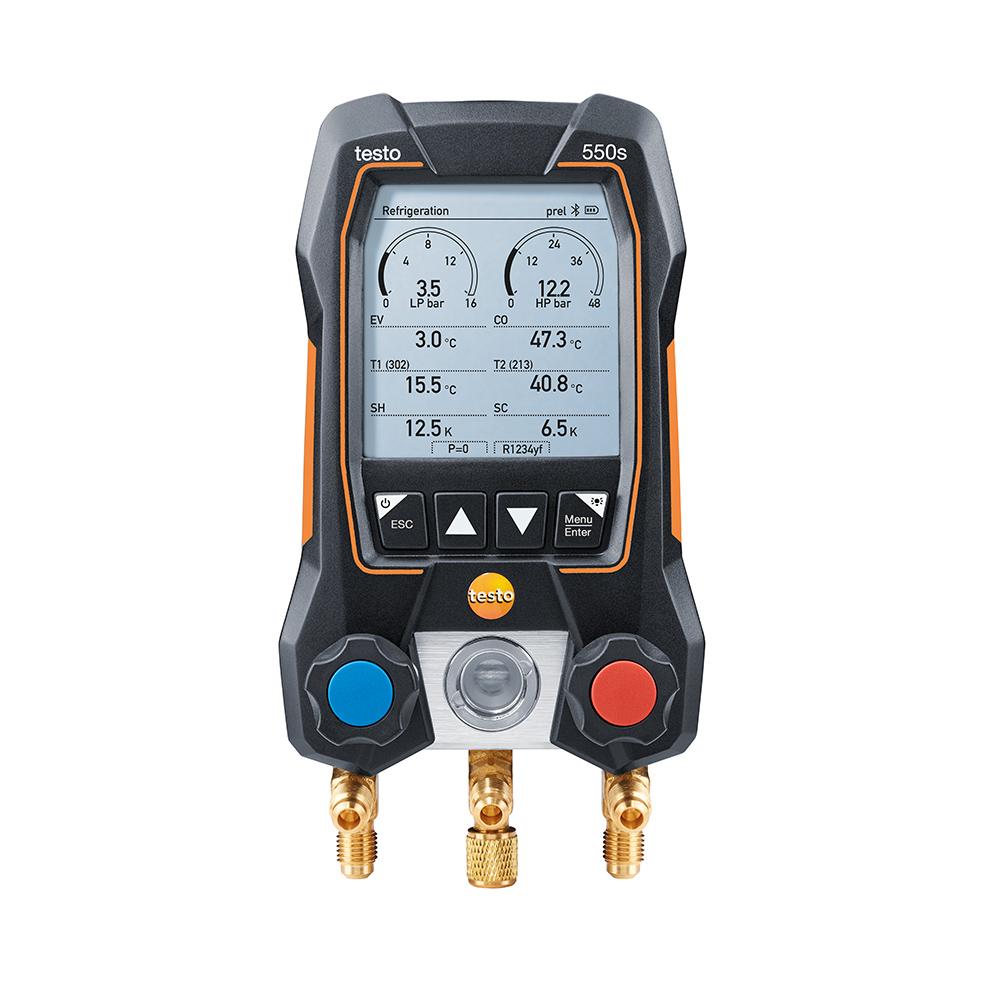 Testo 550s Manifold Digital 2 Vias Bluetooth 2 sondas de Temperatura Com Fio Kit Basic  (0564 5501)