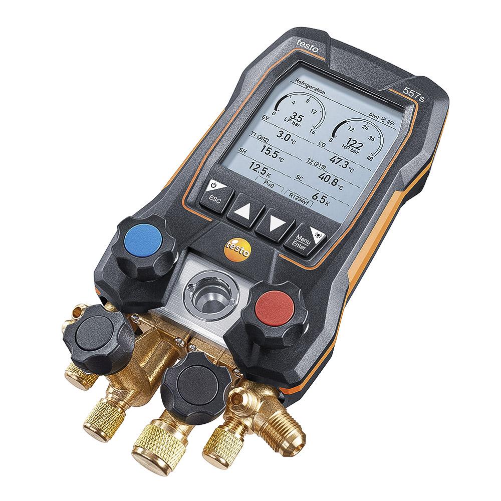 Testo 557s Manifold Digital 4 Vias Bluetooth Com 4 Mangueiras 2 sondas de Temperatura Testo 115i Sem Fio + Vacuômetro 552i  Kit Smart Vacuo (0564 5572)