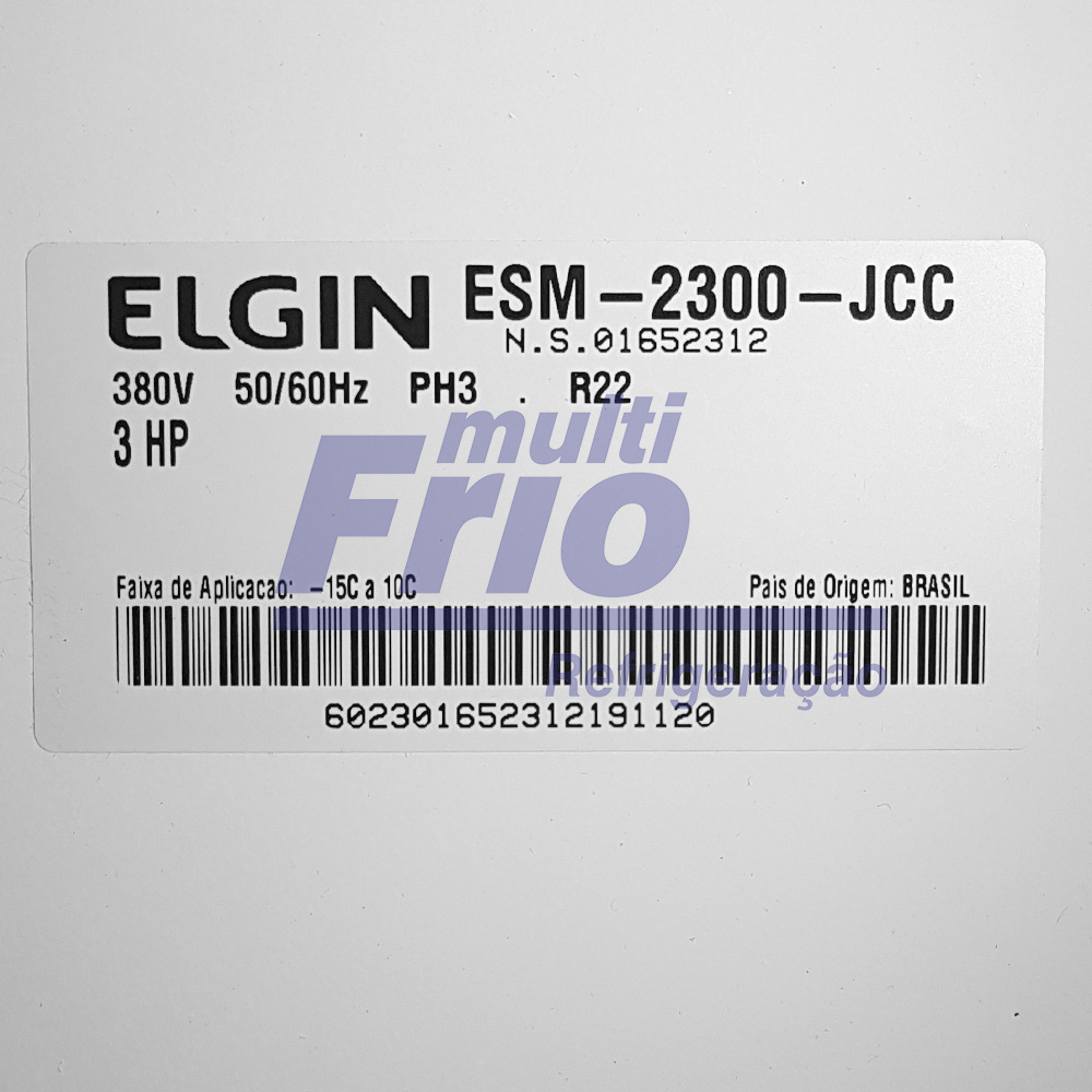 Unidade Condensadora 3 HP Elgin ESM 2300 Trifásico R22 380V