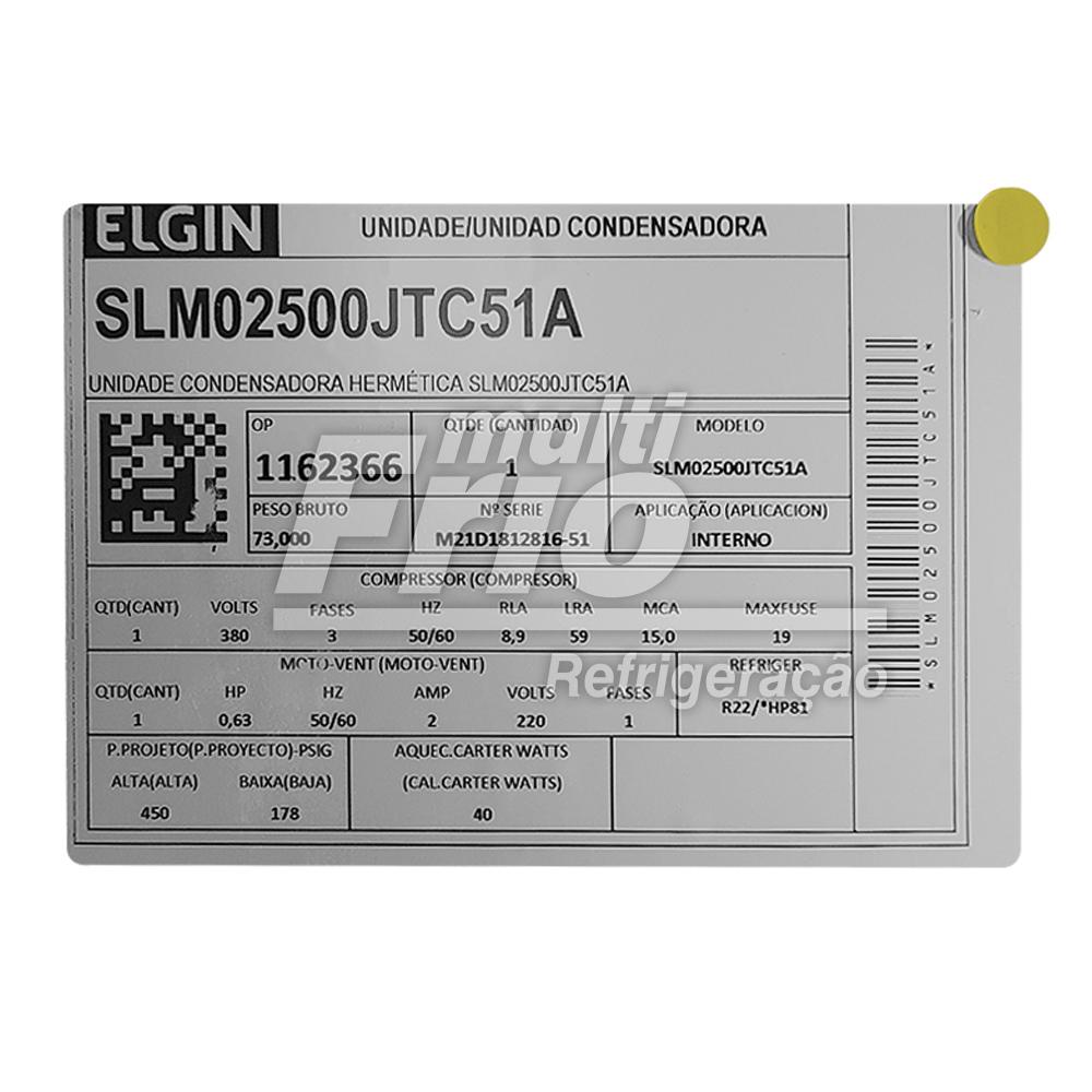 Unidade Condensadora 5 HP Elgin SLM02500JTC51A Trifásico R22 380V