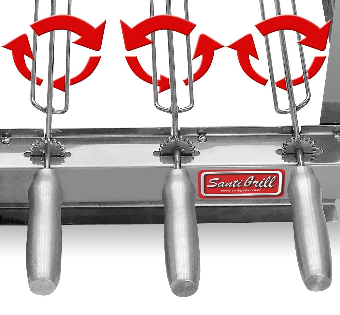 Grill giratória e rotatória elétrica 3 espetos