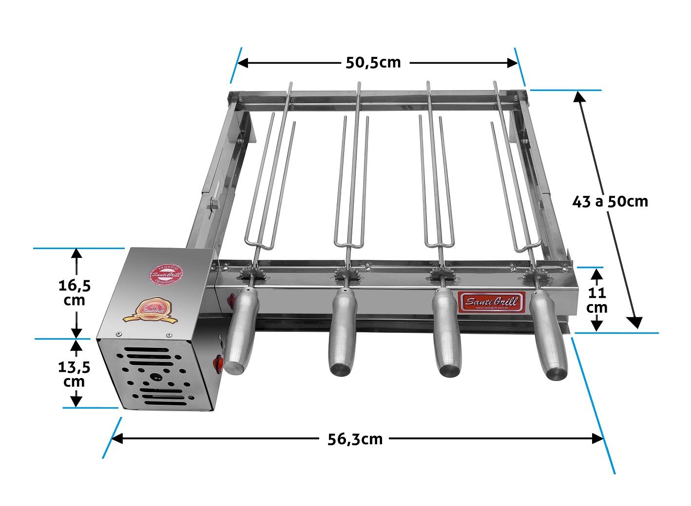 Grill Giratório/rotatório 4 Espetos Baixo
