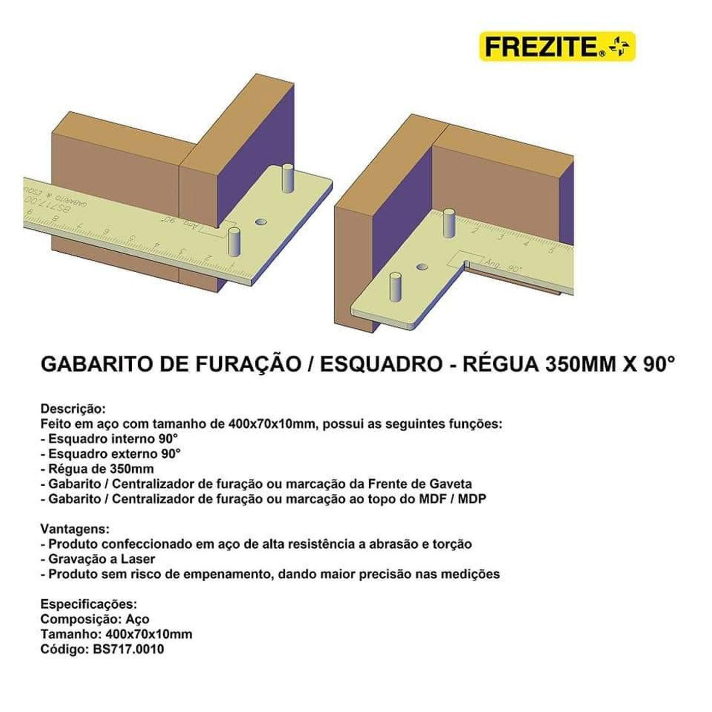Esquadro Gabarito 350mm Frezite