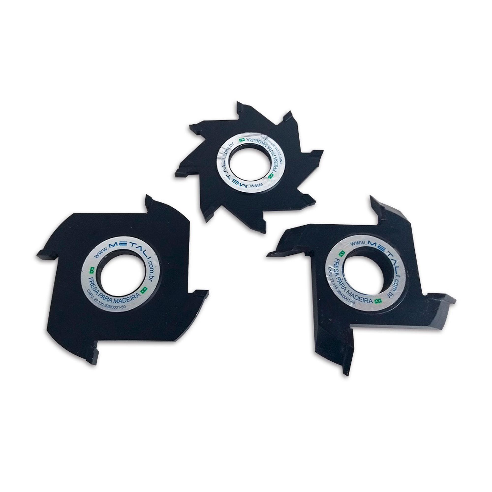 Jogo Fresa 03 Peças Widea para Emenda Meia Esquadria 127 mm 04+04Z - Metali