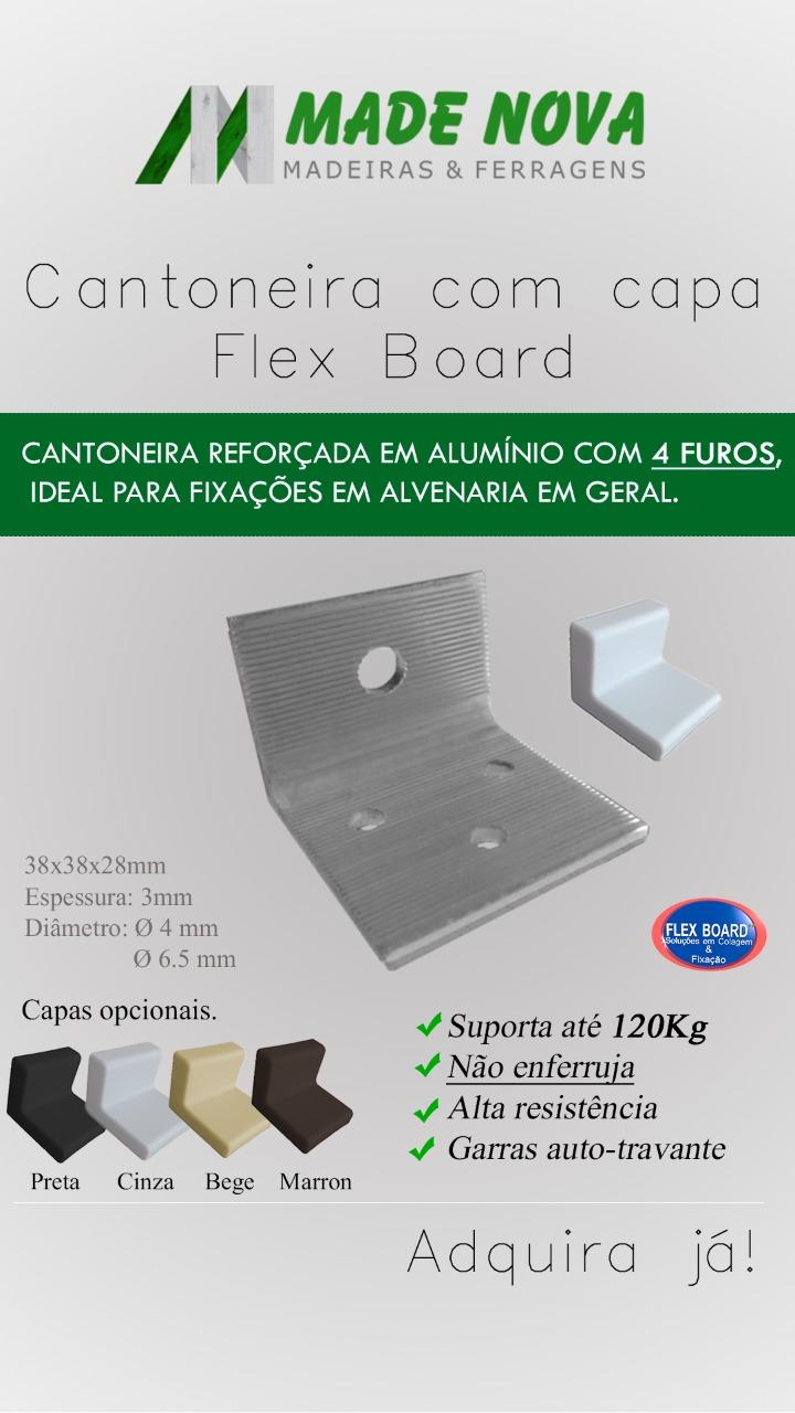 Kit C/10 Cantoneira Fixação Reforçada em Alumínio 4 furos C/ Capa - FB7001