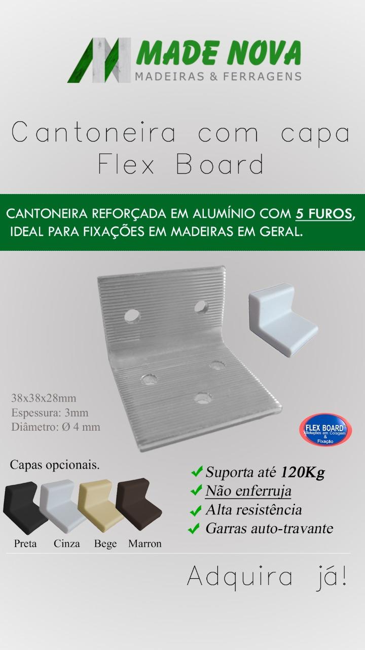 Kit C/10 Cantoneira Fixação Reforçada em Alumínio 5 furos C/ Capa - FB7002