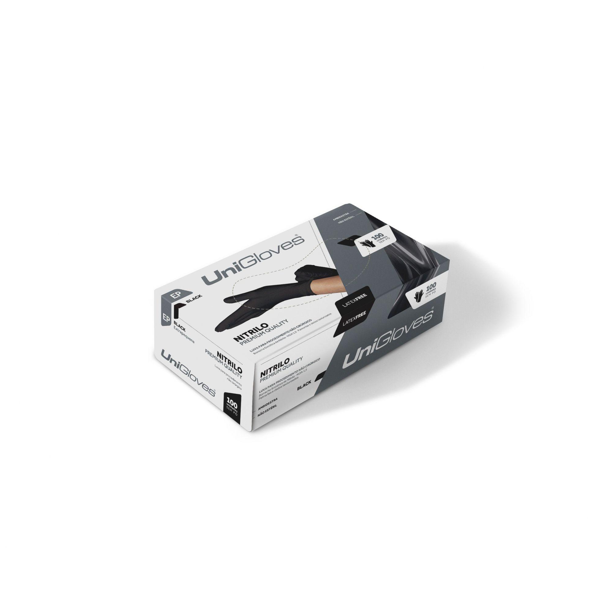 10 Caixas Luva Unigloves Black Com 100 Und