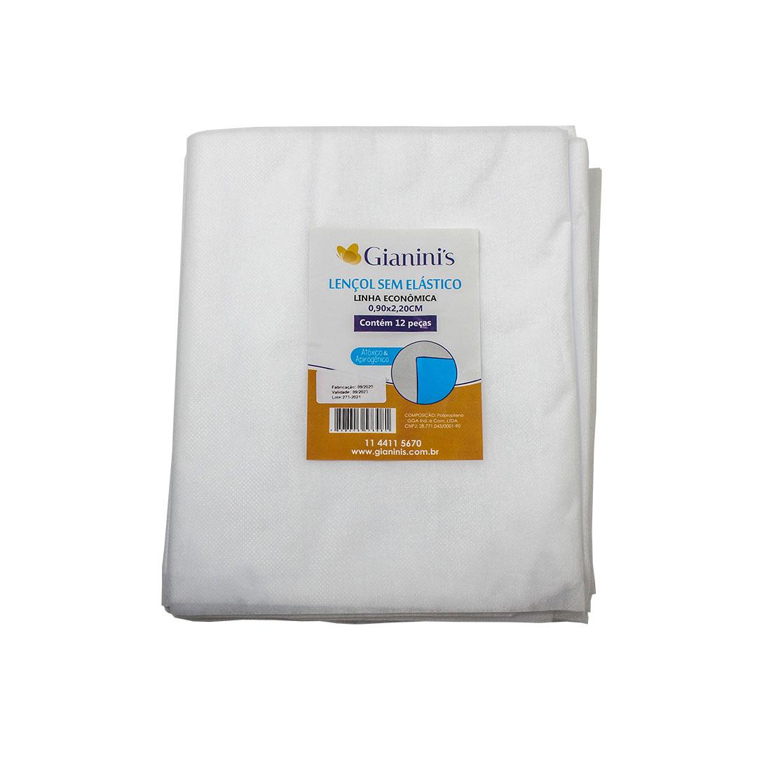 Kit com 5 pacotes de lençol econômico sem elástico com 12 unidades cada