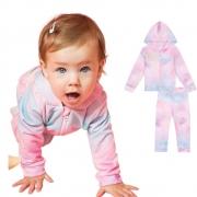 Agasalho Bebê Menina Conjunto Jaqueta e Calça Tie Dye