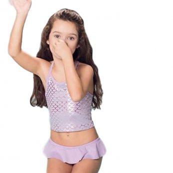 Biquíni Infantil Lilás Cropped Sereia