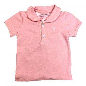 Camiseta Polo Menina Manga Curta Rosa
