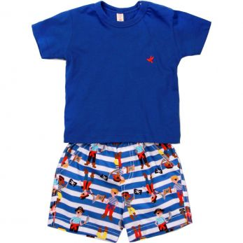 Conjunto Bebê Camiseta Azul e Bermuda Piratas