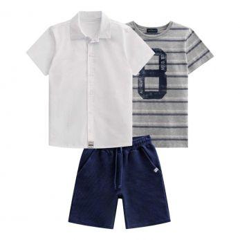 Conjunto Camisa Branca, Camiseta Listrada e Bermuda Marinho