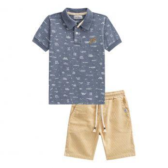 Conjunto Camisa Polo Manga Curta e Bermuda Listrada