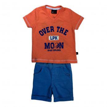 Conjunto Infantil Camiseta Flamê  e Bermuda Cós Confort de  Sarja