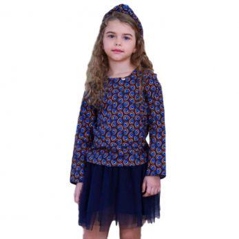 Conjunto Infantil Feminino Precoce Azul Pavão  Saia Tule
