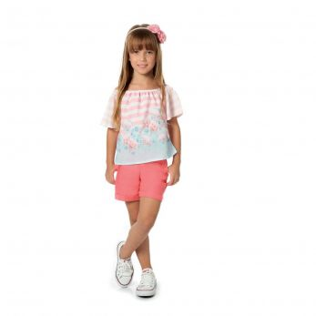 Conjunto Infantil Menina Bata com Shorts em Linho Rosa