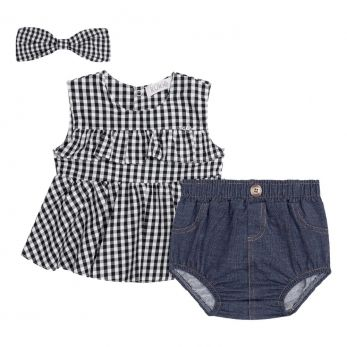 Conjunto Regata Xadrez e Short Jeans com Faixa de Cabelo
