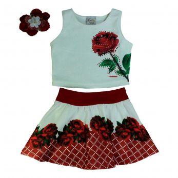 Conjunto Saia Shorts Estampa Flores Vermelhas e Blusa